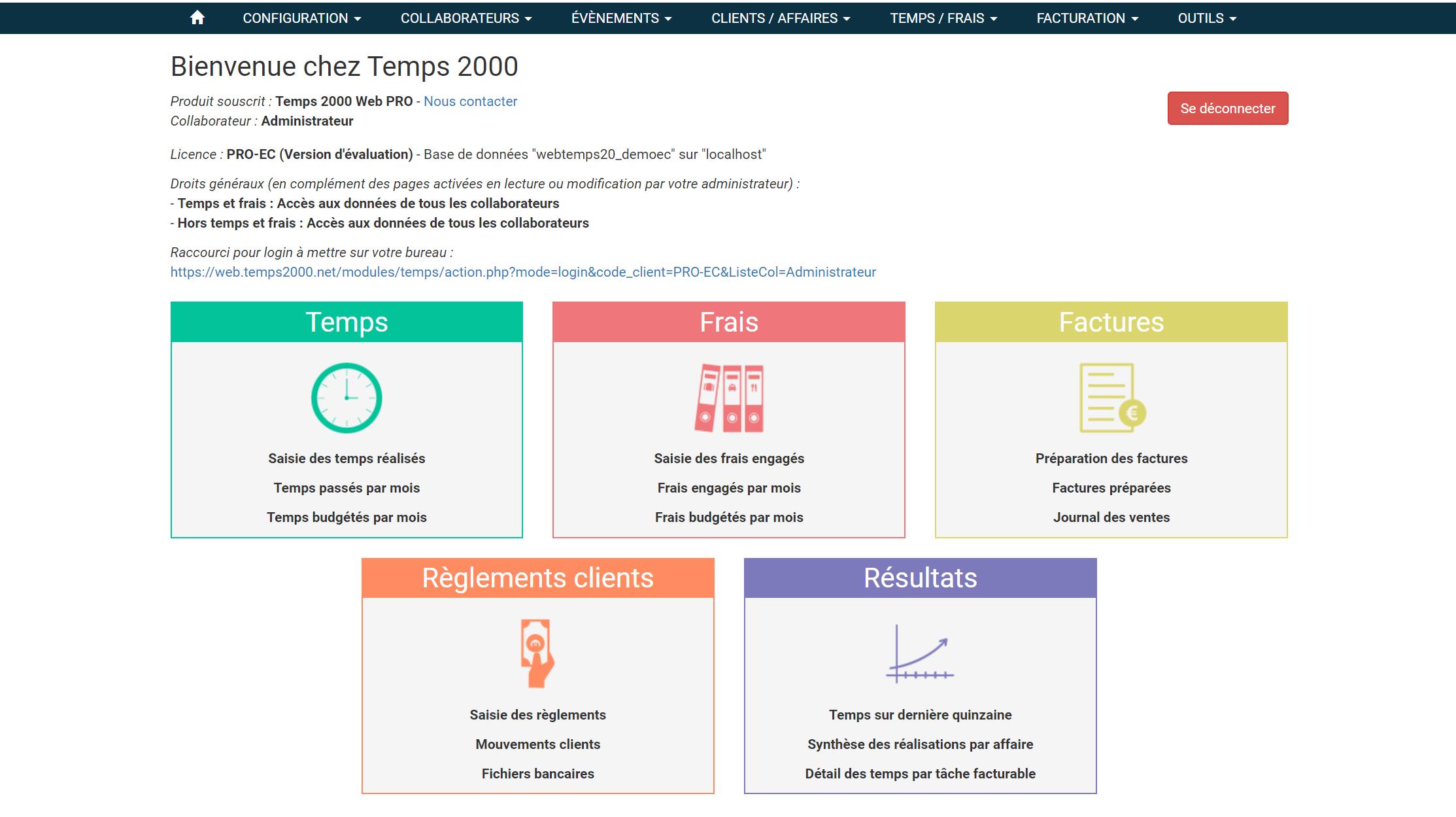 Page d'accueil de Temps 2000 Web Pro