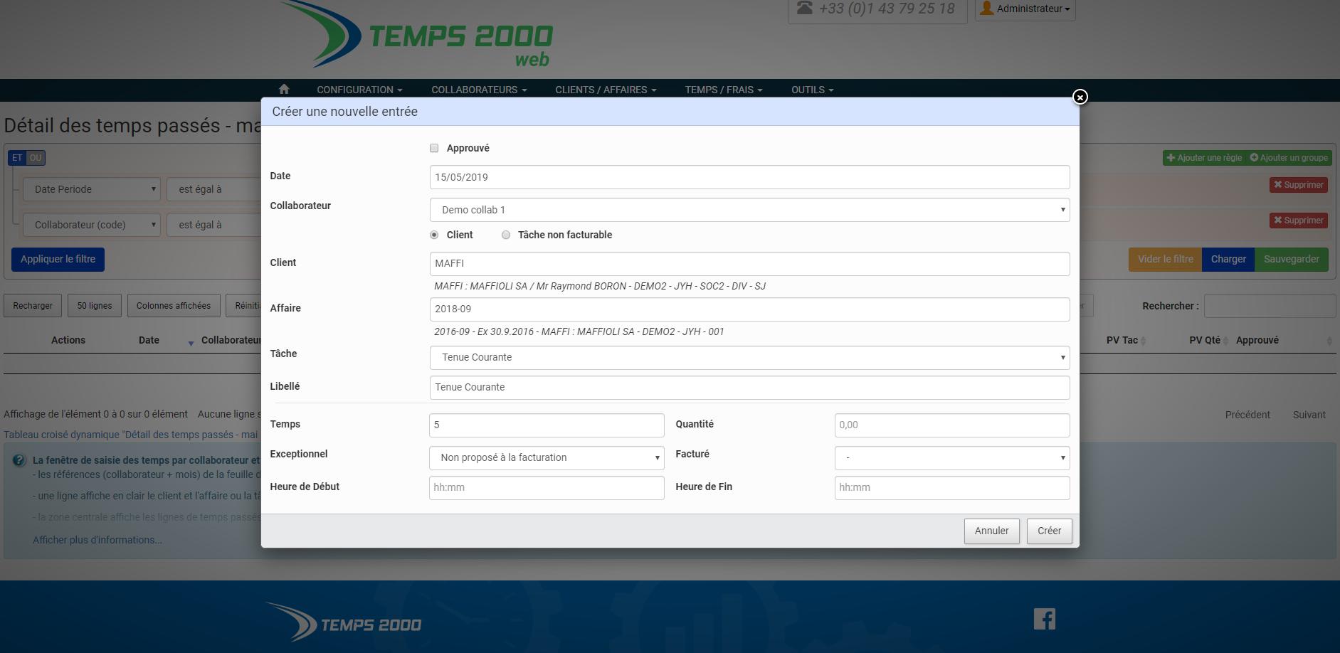Saisie d'une ligne de temps sur Temps 2000 Web Pro